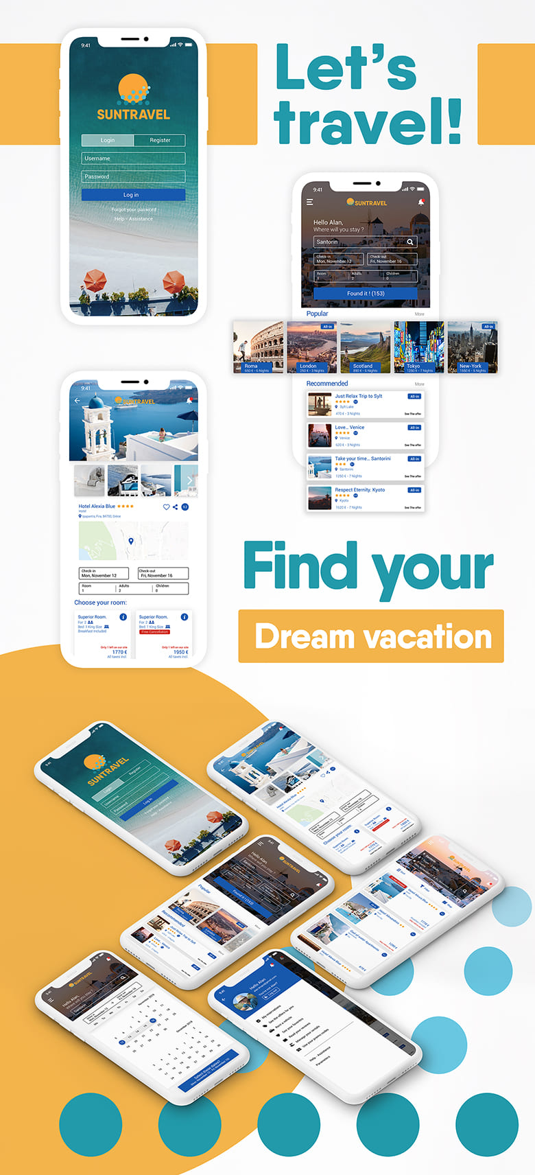 UI UX design graphisme interfaces Application App Suntravel